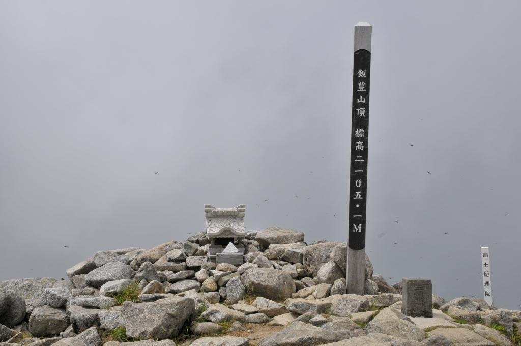 飯豊本山の山頂と、沢山のトンボです